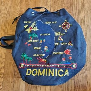 Vintage Backpack purse - 90's Map of Dominica